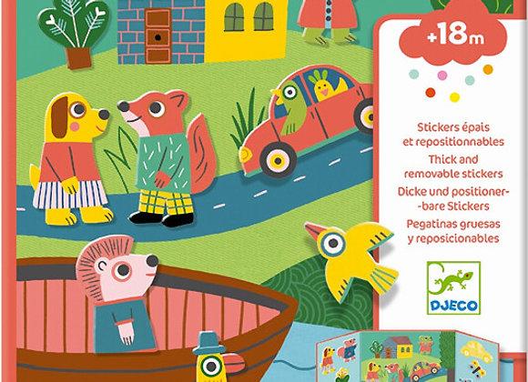 Djeco, Dicke und positionierbare Sticker - Tiere