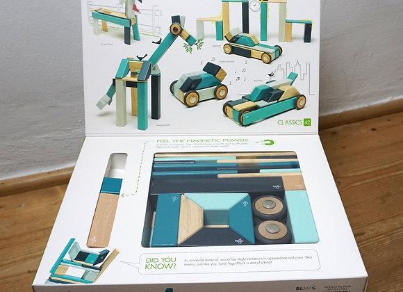 tegu, Magnetische Holzbausteine - 42 Teile - Blautöne