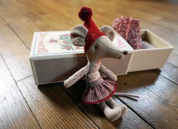 Maileg, Weihnachts-Maus Big Sister in der Streichholzschachtel