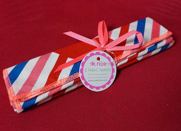 Rice, Stoffservietten 2er Set – Cotton Napkin with Candy Stripes Print