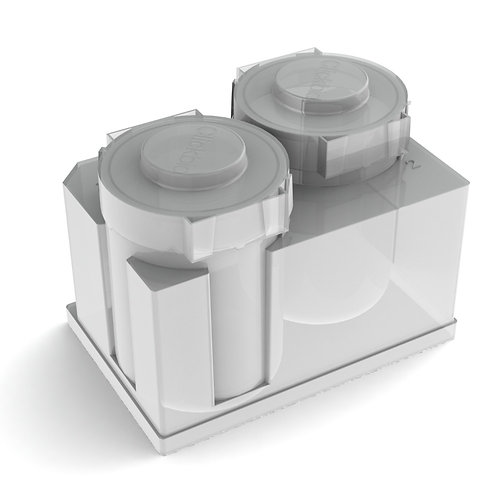 Clickbio XBLOK2235 is a polypropylene automation consumable plastic labware with 2 Shaker Flask wells, 235 mL per well