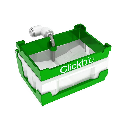 Clickbio VBLOK Waste Station is an SBS footprint on-deck liquid waste solution for automated liquid handling