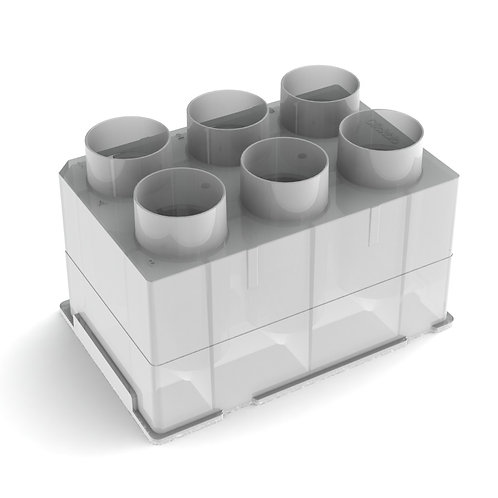 Clickbio XBLOK630 is a polypropylene SBS SLAS footprint consumable plastic labware with 6 wells, conical tube, 30 mL per well