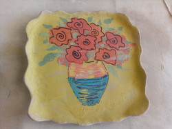 Slip transfer platter - flowers