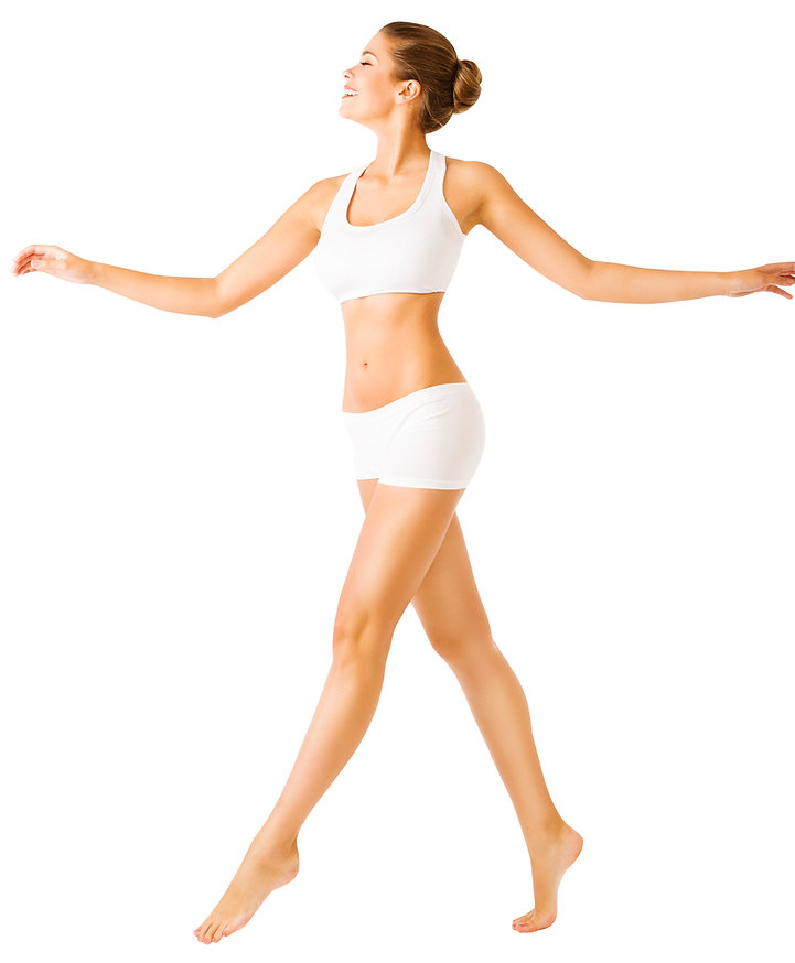 Woman-Walking-Side-View,-Sexy-Girl-White