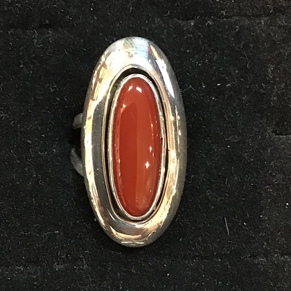 #55 Carnelian Stone Shadow Box Ring