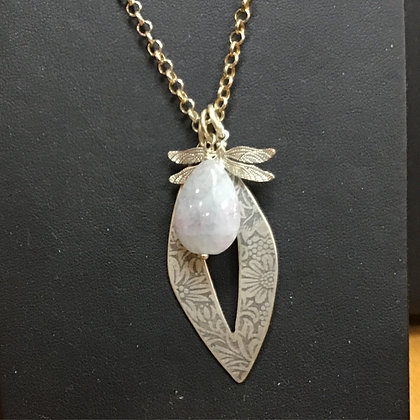 Dragonfly Charm Necklace With Aquamarine