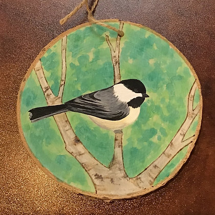 Ornament: Chickadee Bird + Green