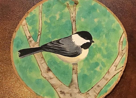 Ornament: Chickadee Bird w/ Green