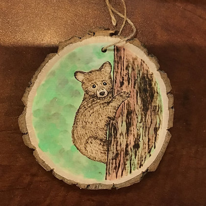 Ornament: Baby Bear Climbing Tree