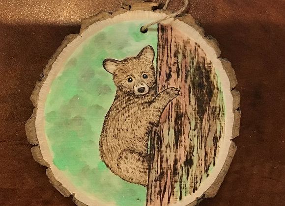 Ornament: Baby Bear Climbing Tree