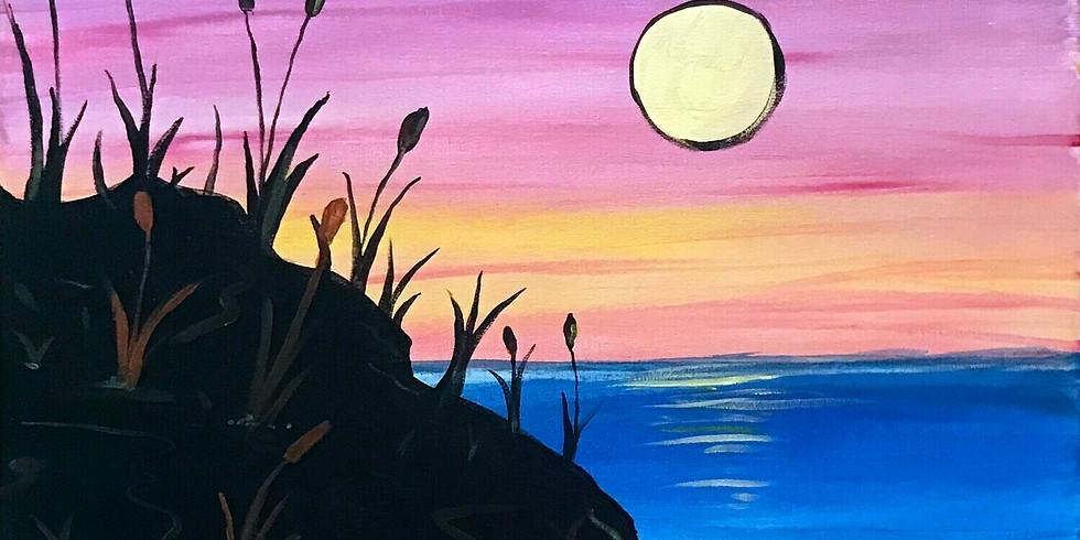 Art & Wine Online. Ocean Moonrise with Miguel Flores