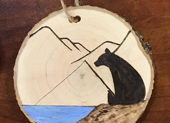 Ornament: Bear Silhouette w/ Blue Water