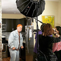"""Jonathan Ellers as Bud on set of """"Biff & Me"""" with sound operator Stephanie Choriatis and director Nicola Rose ©Karen O'Connell-Padilla"""