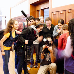 "Crew and actors examine a shot on set of ""Biff & Me"" ©Sam Francisco"