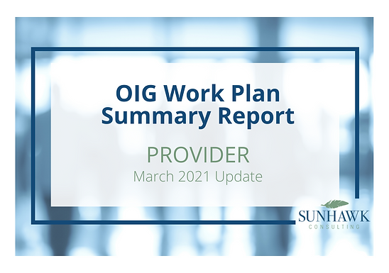 SunHawk's OIG Work Plan March 2021 Update: Provider Focused