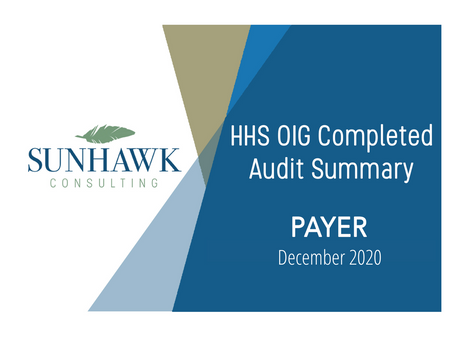 SunHawk's Payer Focused HHS OIG Audit Summary Reports - December 2020 Update