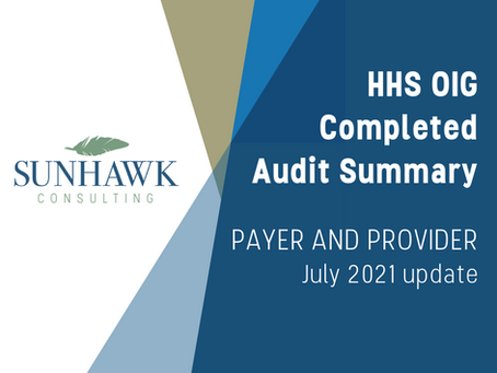 SunHawk's HHS OIG Audit Summary Reports - Provider and Payer July 2021 Update