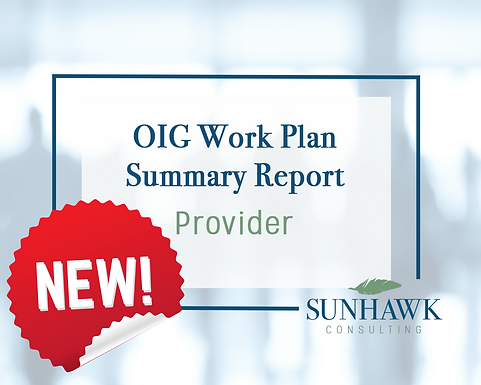 NEW! SunHawk's Provider Focused OIG Work Plan