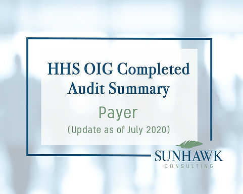 UPDATE August 2020: SunHawk Summary HHS OIG Payer Focused Audits