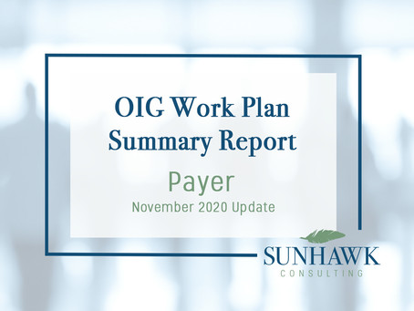 November 2020 Update: SunHawk's Payer Focused OIG Work Plan