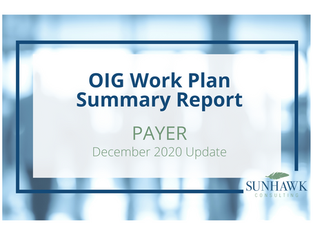 SunHawk's Payer Focused OIG Work Plan Update for December 2020