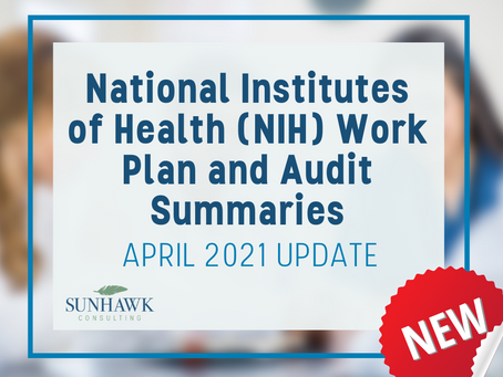 NEW! National Institutes of Health (NIH) Work Plan and Audit Summary Report