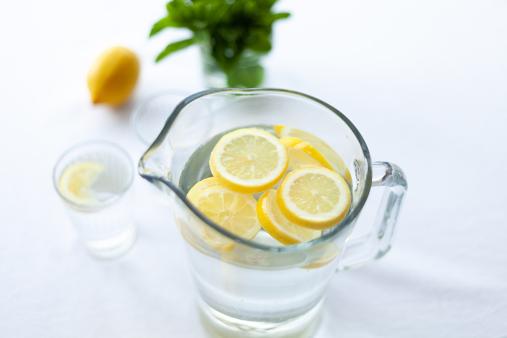 Jug of water flavoured with lemons