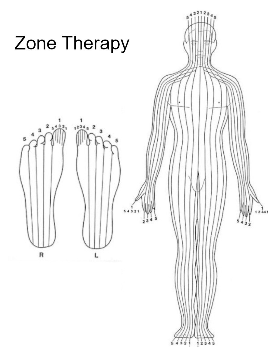 Zone Therapy body and foot chart