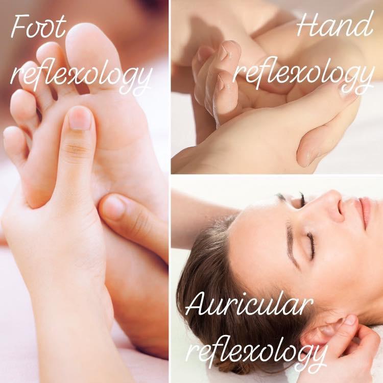 Foot reflexology. Hand reflexology. Auricular reflexology