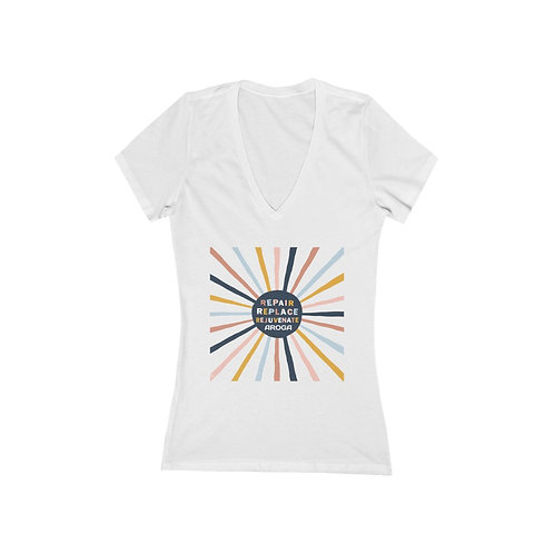 3 R's Women's Jersey Short Sleeve Deep V-Neck Tee