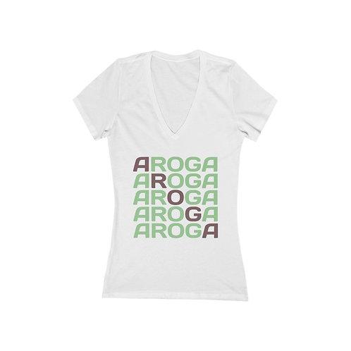 Aroga Women's Jersey Short Sleeve Deep V-Neck Tee