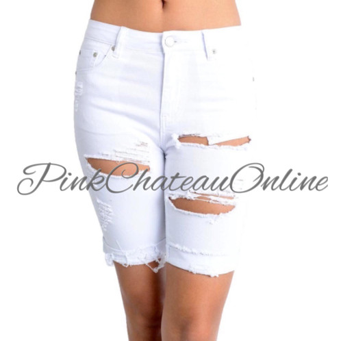 Bermuda Cut-Up Shorts | Pink Chateau Online Boutique