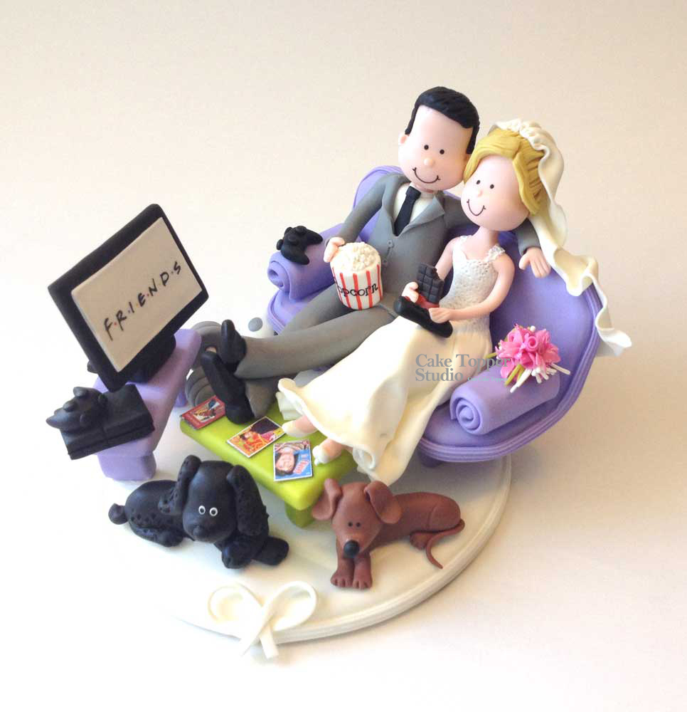 wedding-cake-topper-funny-watching-tv-popcorn