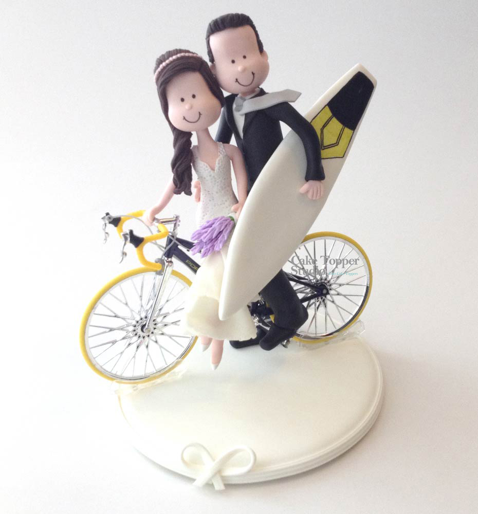 Bicycle wedding cake topper themes