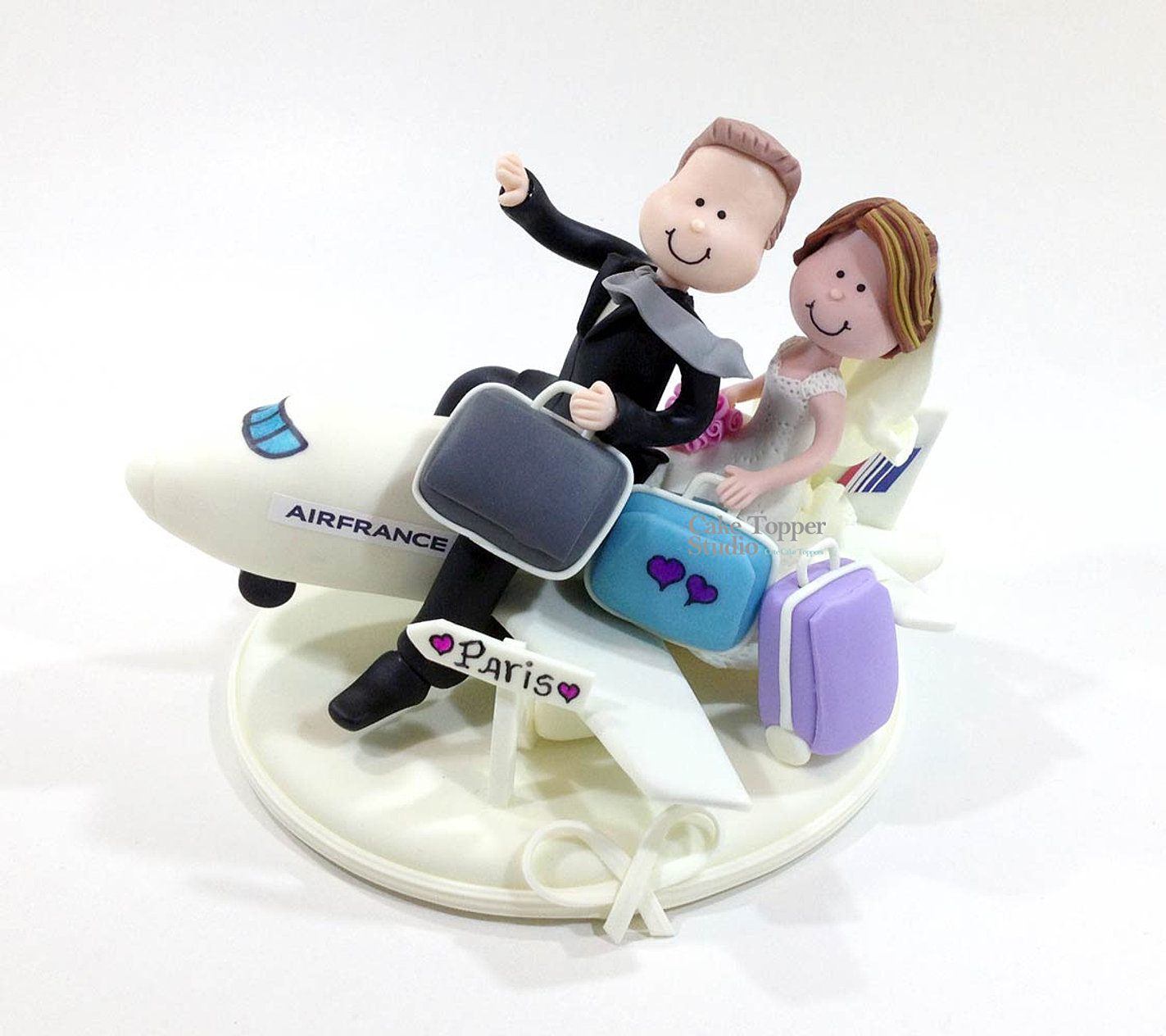 Bride Groom Airplane Cake Topper