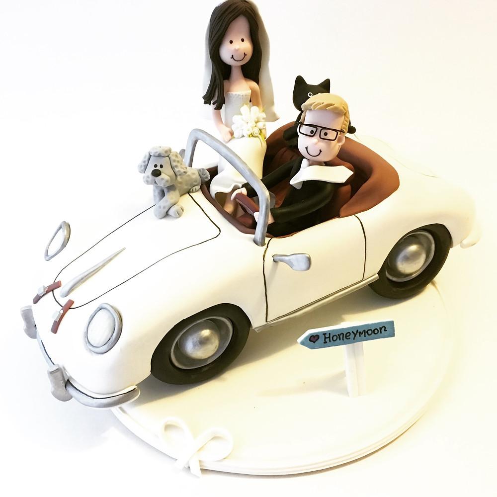 Old porsche car wedding cake topper