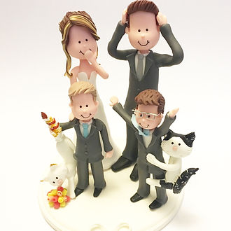 Wedding Cake Topper Family Cats
