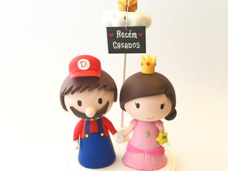 Cute Wedding Cake Topper (Mario and Peach)