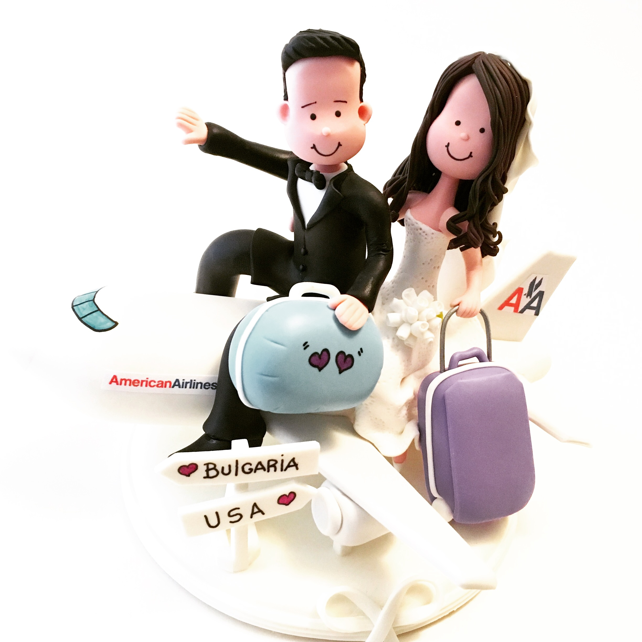 wedding-cake-topper-airplane-american-airlines