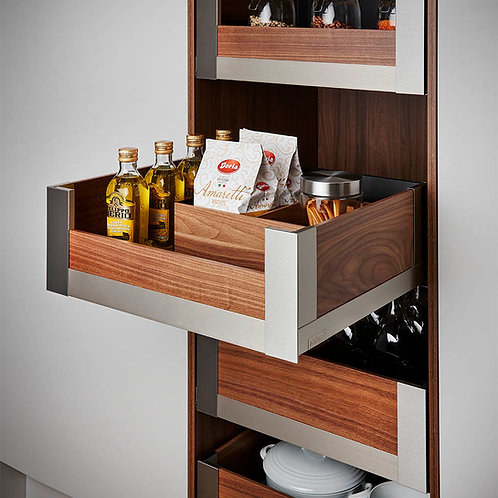 Space Tower Legrabox Free Stainless Steel With Walnut Elements 300mm Wide