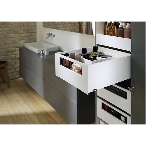 Blum Space Tower Legrabox Silk White With Gallery Facia 300mm Wide