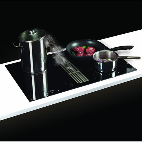 Combiflow One piece Hob & Extractor Black Glass 800 x 520