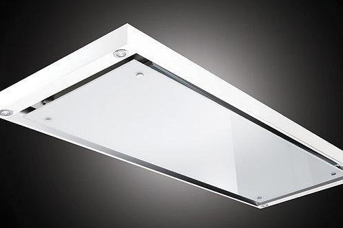 Slimline Classic Ceiling Hood White Glass S/Steel Frame 1200 Wide