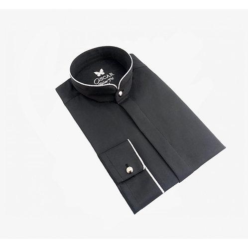 Chemise cérémonie brodée noir & argent 2055