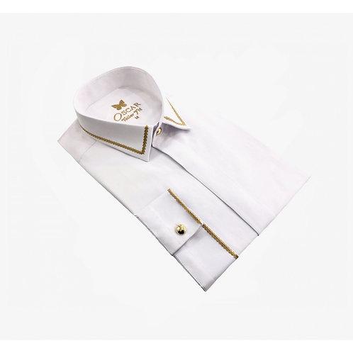 Chemise cérémonie brodée blanc & doré 2053