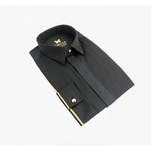 Chemise cérémonie brodée noir & doré 2052