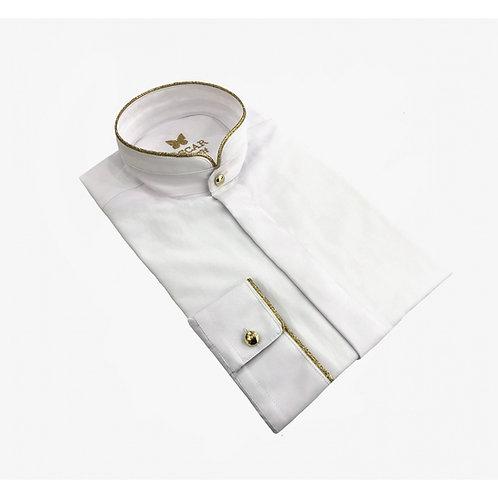 Chemise cérémonie brodée blanc & doré 2055