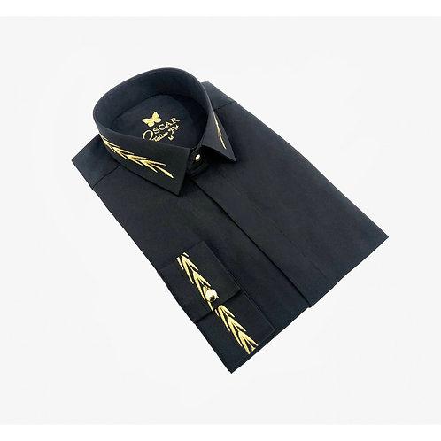 Chemise cérémonie brodée noir & doré 2054