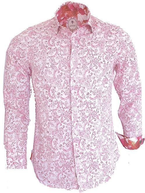 Chemise Ganesh G7000M FANTAISIE fleurs rose